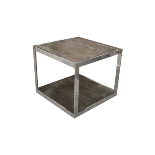 Hamstead Side Table Stainless Steel With Heritage Oak
