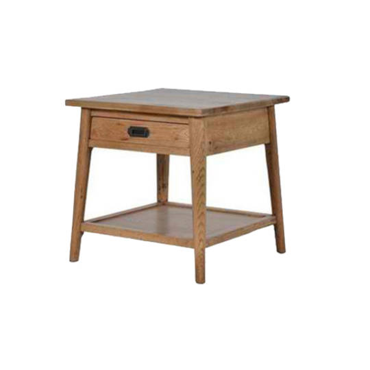 Lamp Table with Drawer - Bedside Table Natural Solid Oak