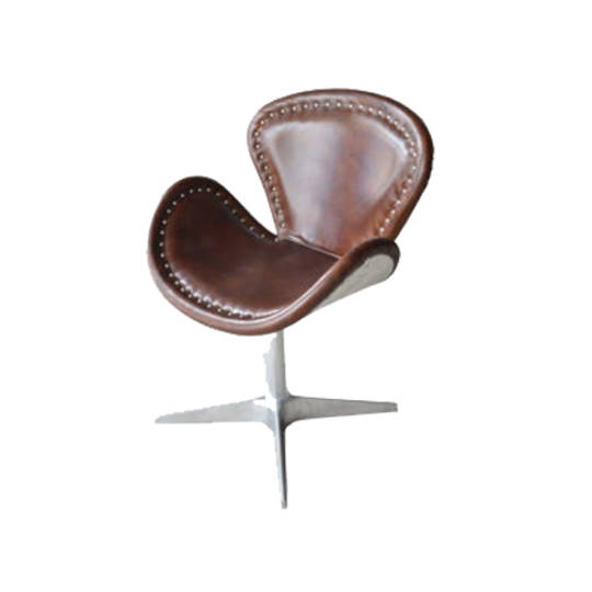 Swivel Chair Leather With Stainless Steel Base