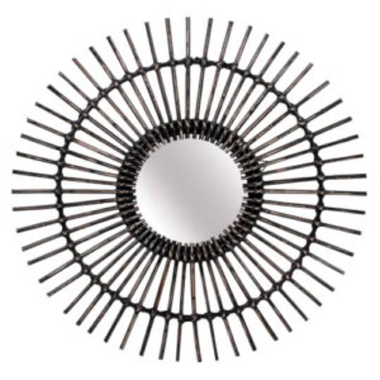 Linear Rattan Round Mirror Blackwash