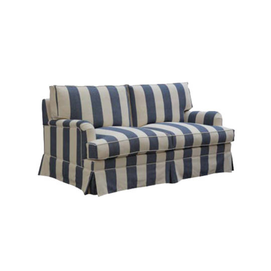 Louis Feather Filled Sofa 2 Seater - Striped Blue Linen