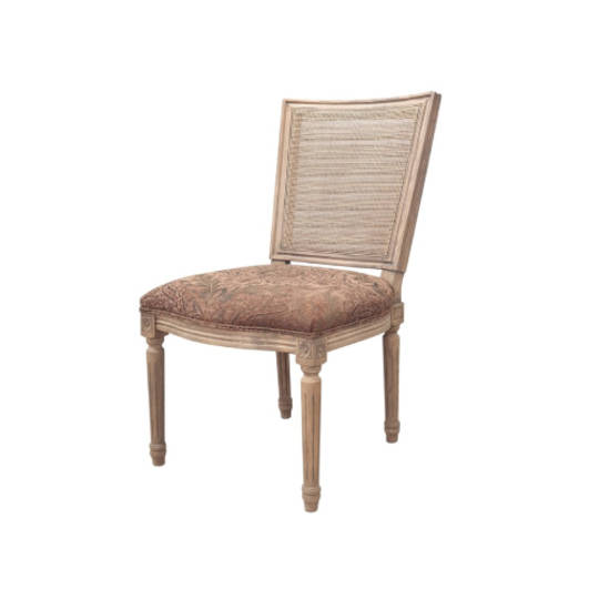 Marcel Dining Chair - Antique Oak With Jacquard Fabric & Rattan Back