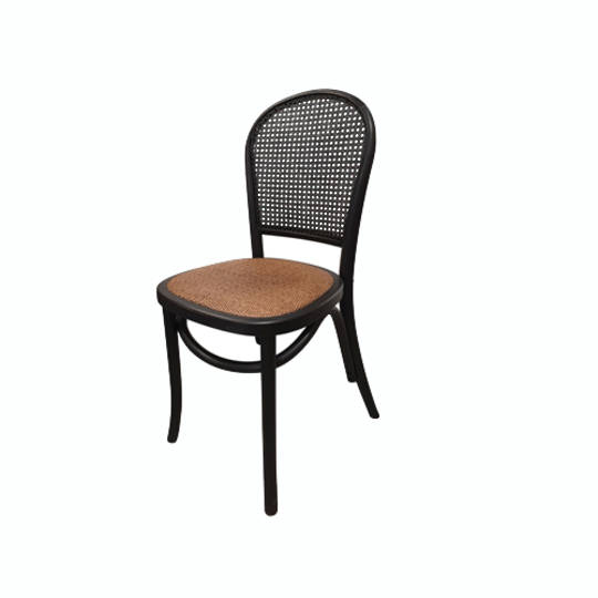 Meshach Rattan and Oak Dining Chair Black