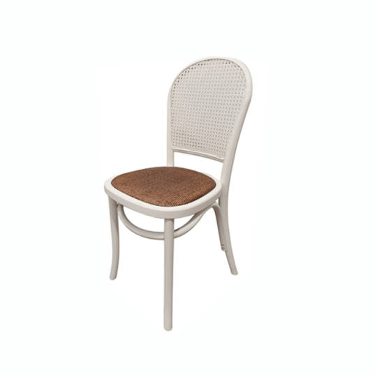Meshach Rattan and Oak Dining Chair White