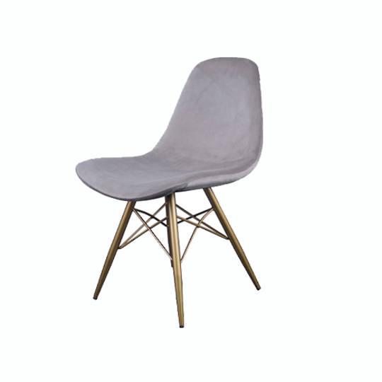 Naples Dining Chair Grey Velvet