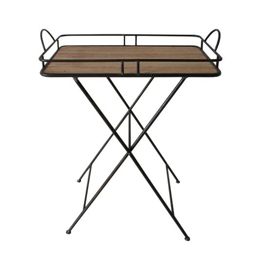 Metal & Wood Tray Table