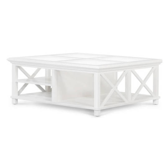 Coast Coffee Table White Wood and Glass