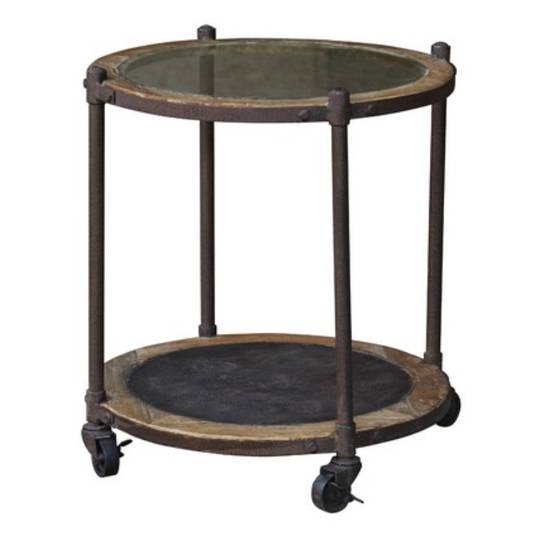 Industrial Side Table Glass Top With Metal Shelf