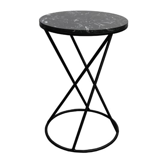 Menorca Side Table Black Marble