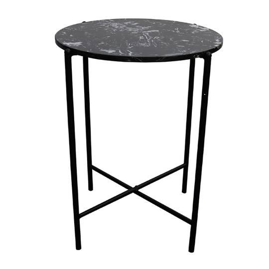 Crete Side Table Black Marble
