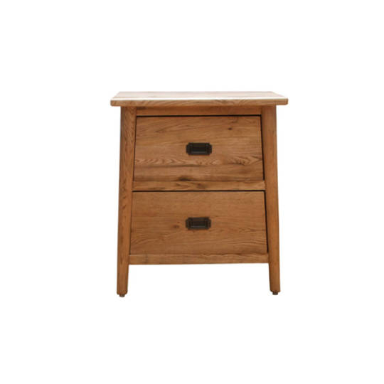 Antique Natural Two Drawer Bedside Table