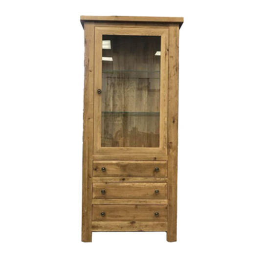 Oak Display Cabinet With Glass Door and Drawers