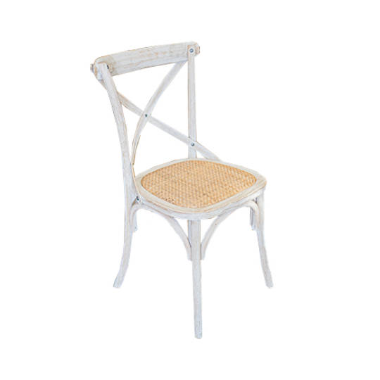 Marco Oak White Washed Wooden Cross Chair with Rattan Seat