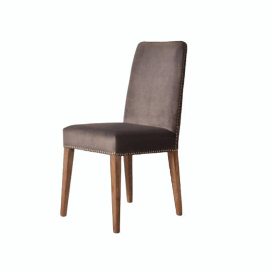 Pascal Dining Chair Grey Velvet With Antique Studs