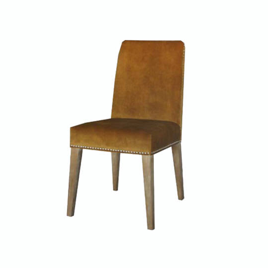 Pascal Dining Chair Mustard Velvet With Antique Studs