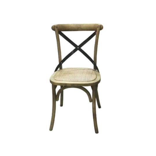 Porto Metal Cross Back Chair Rattan Seat