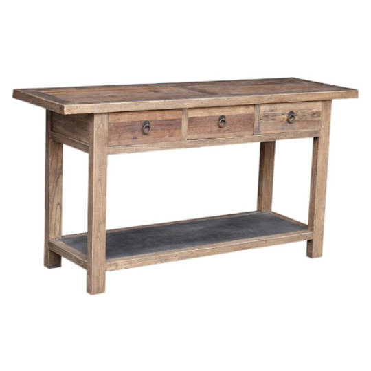Reclaimed Elm Console With Metal Shelf