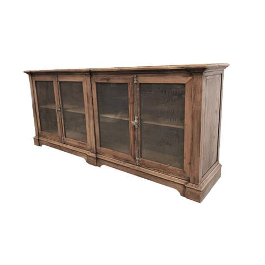 Reclaimed Elm Sideboard with Chicken Wire and Glass Door
