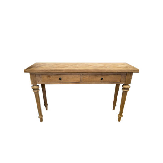 Recycled Elm Console 2 Drawer with Parquet Top