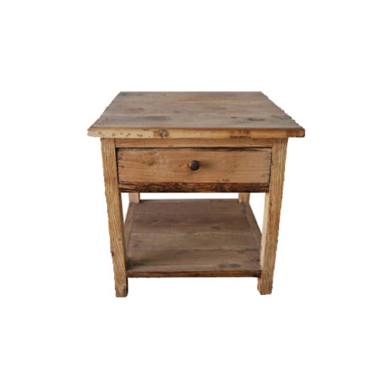 Recycled Elm French 1 Drawer Lamp Table With Shelf