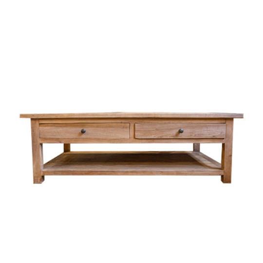 Recycled Elm French 2 drawer coffee table with shelf