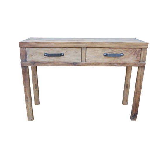 Recycled Elm Hall Table 2 Drawer
