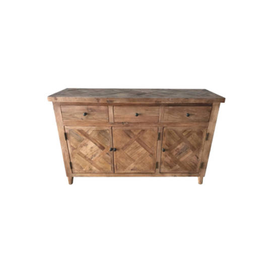 Recycled Elm Parquet Sideboard 4 Door 4 Drawer