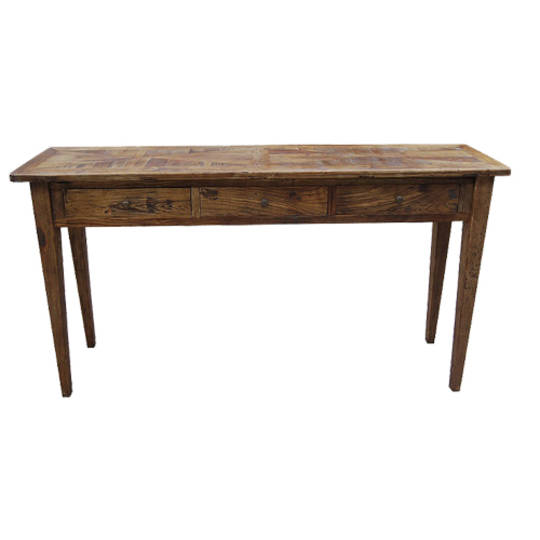 Recycled Elm Parqueterie 3 Drawer Console Table