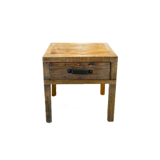 Recycled Elm Side Table 1 Drawer