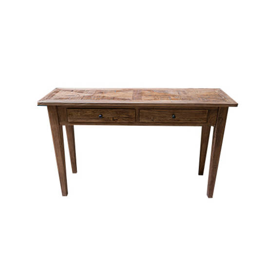 Recycled Elm Parquetry Hall Table 2 Drawer