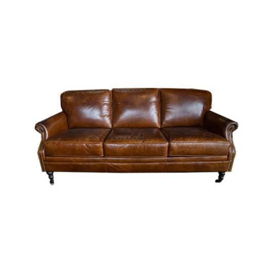 Sandringham Aged Italian Leather 3 Seater