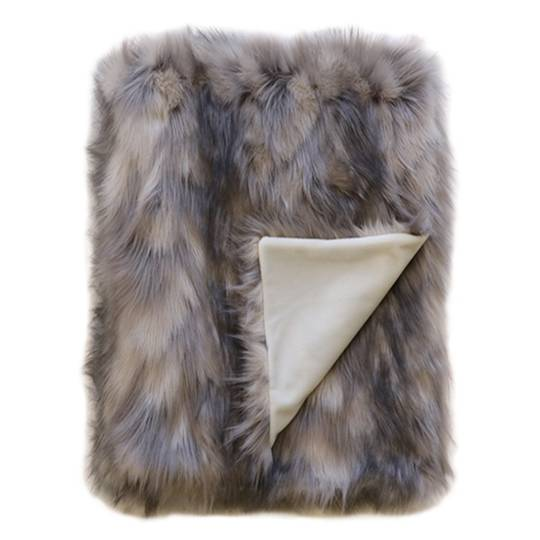 HEIRLOOM EXOTIC FAUX FUR THROW MOUNTAIN HARE