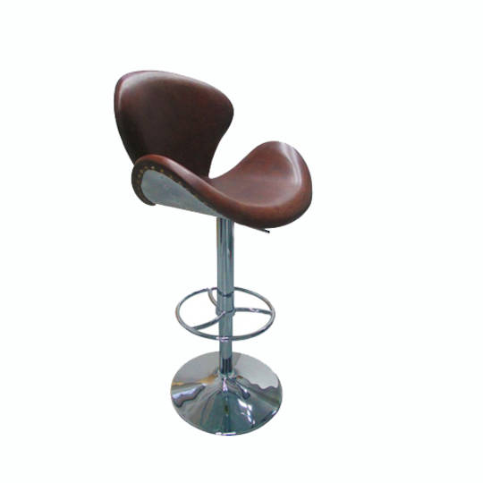 Vintage Leather & Stainless Steel Bar Chair