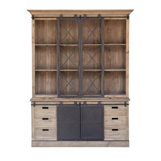 Industrial Wall Unit with Sliding Barn Doors