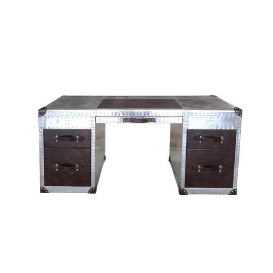 Aviator Aluminum Desk with Leather Drawer
