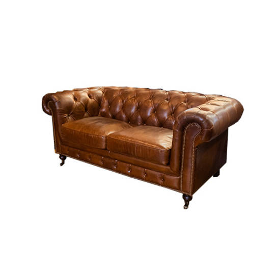 Chesterfield Aged Italian Leather 2 Seater Brown