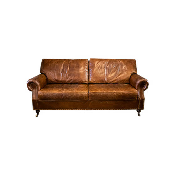 Churchill Aged Italian Leather 3 Seater
