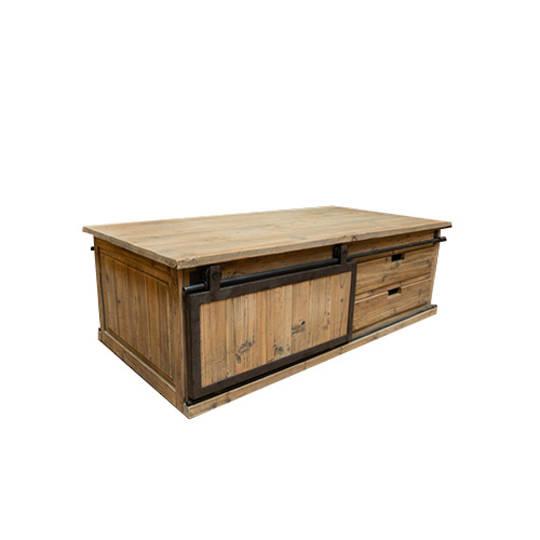 Industrial Coffee Table With Sliding Door