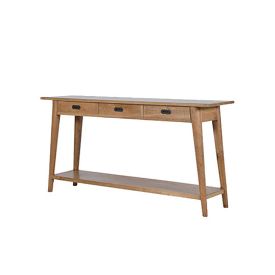 American Oak Console Table 3 Drawer