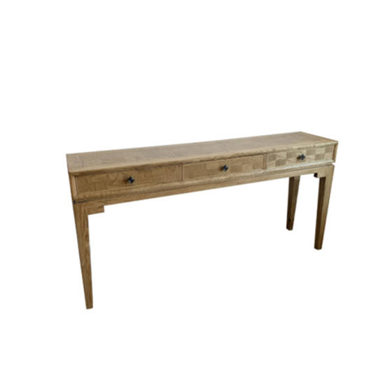 Mosaic Oak Console Table 3 Drawer