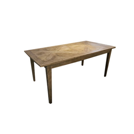French Dining Table Recycled Elm Parquet Top 2.2M