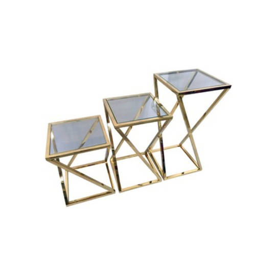 Glass End Table Gold Large