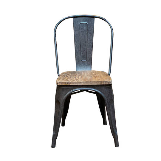 Industrial Dining Chair With Elm Seat
