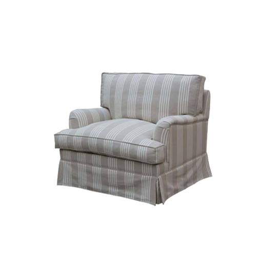 Louis Arm Chair Striped Natural Linen