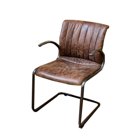 Matera Leather Arm Chair Metal Frame