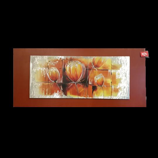 Flower Metal Artwork Red Frame