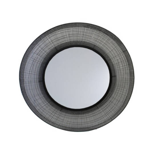 Black Metal Round Mirror