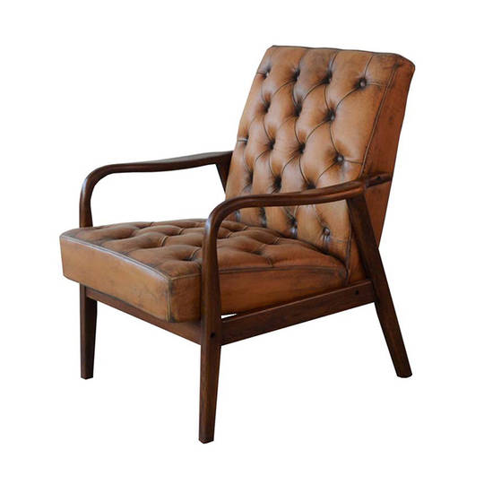 MONTPELLIER ARM CHAIR ANTIQUE LIGHT BROWN LEATHER