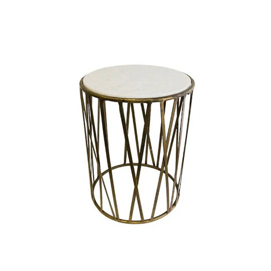 Criss Cross Marble Top Side Table Gold