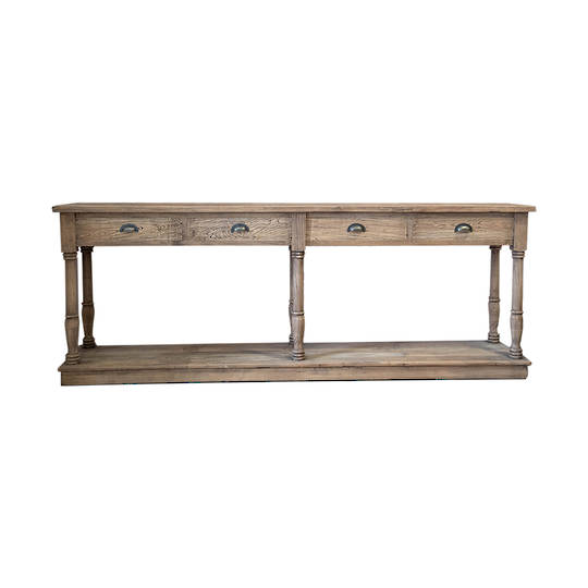 Reclaimed Elm Victoria 4 Drawer Console With Shelf